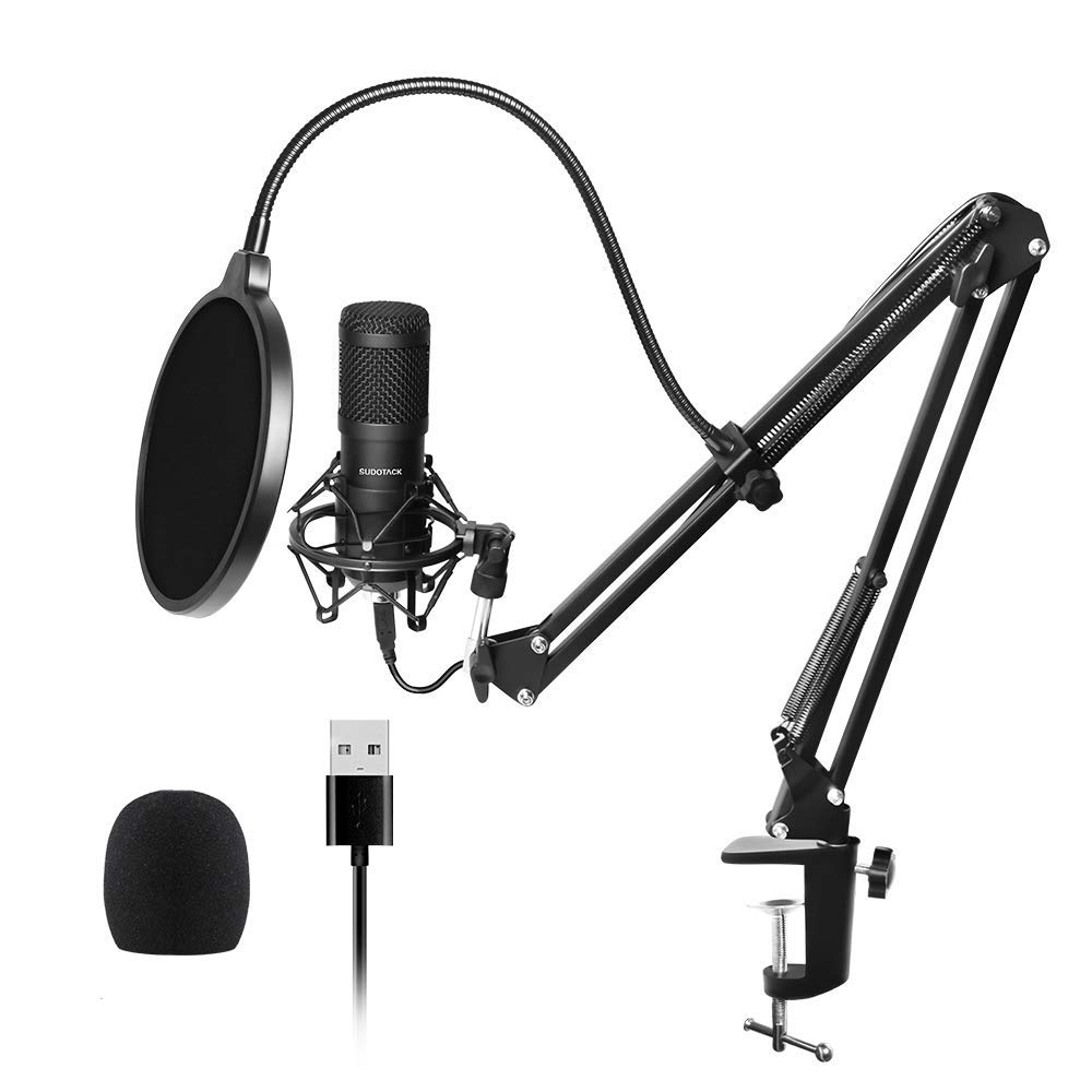 USB Streaming Podcast PC Microphone, SUDOTACK professional 96KHZ/24Bit Studio Cardioid Condenser Mic Kit with sound card Boom Arm Shock Mount Pop Filter, for Skype YouTuber Karaoke Gaming Recording by SUDOTACK (Image #1)