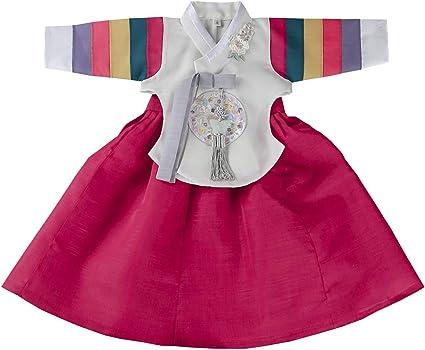 Amazon.com: Rojo Hanbok niña bebé coreana vestido ...