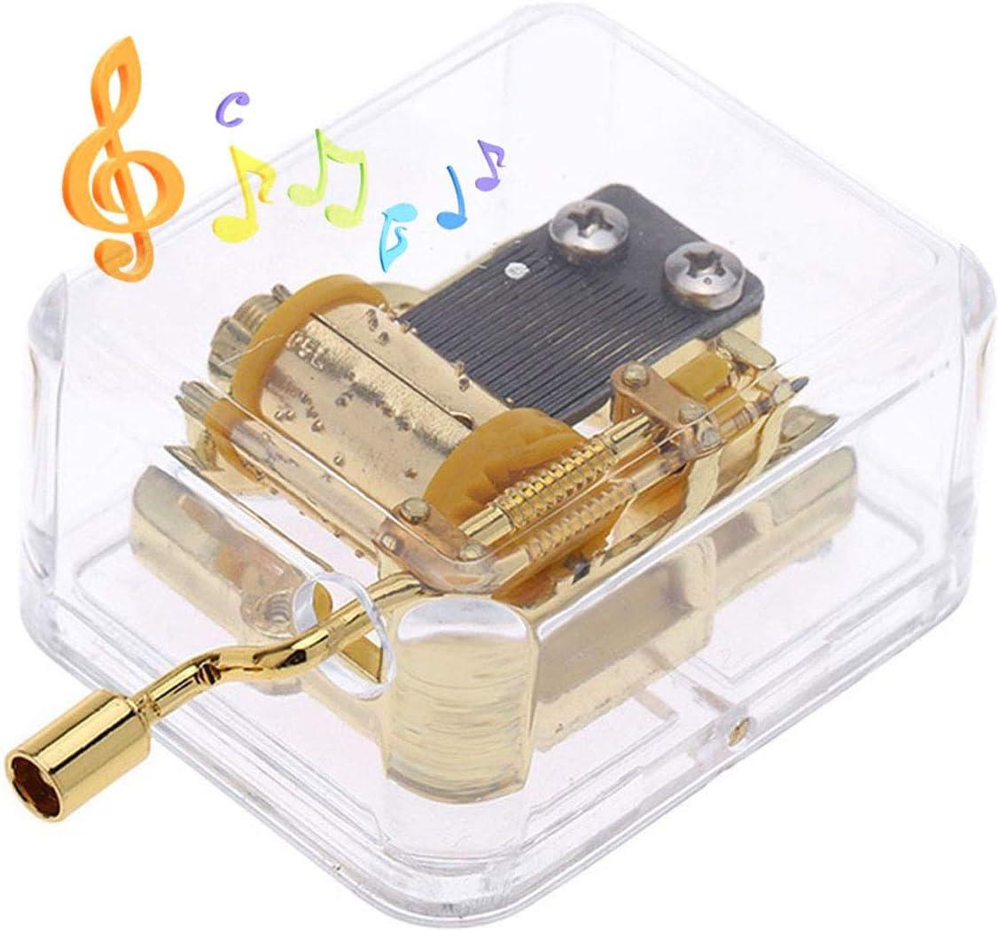 Pursuestar Acrylic Crystal Hand Crank Gurdy Gold Movement Mechanism Music Box Wedding Valentine Christmas Birthday Gift - Over The Rainbow