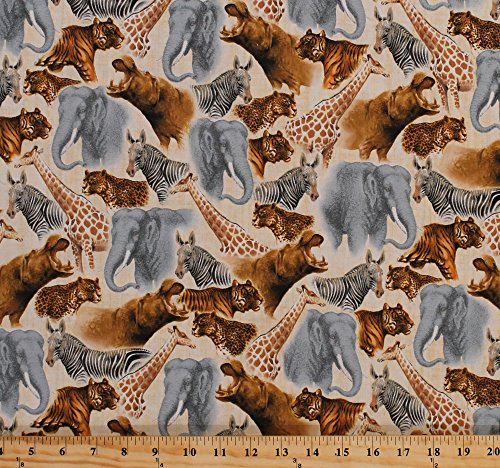 Cotton African Animals Elephants Giraffes Hippos Zebras Tigers Cheetahs Safari Wildlife Zoo Nature Animals Out of Africa Cotton Fabric Print by the Yard ()