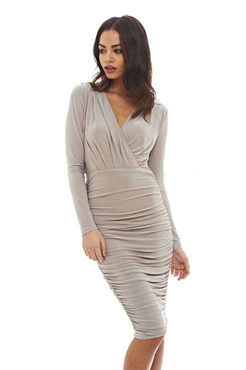 49d11bcfcbc77 AX Paris Women's V Front Slinky Midi Dress at Amazon Women's Clothing store: