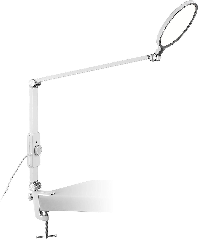 Aspire Modern Desk Table Lamp LED White Metal Clamp On Adjustable Arm Dimmer Switch for Office Artwork Craft - 360 Lighting
