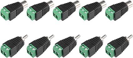 10pcs RCA Male Screw Terminal Block Connector easy Install block Plug CCTV x10
