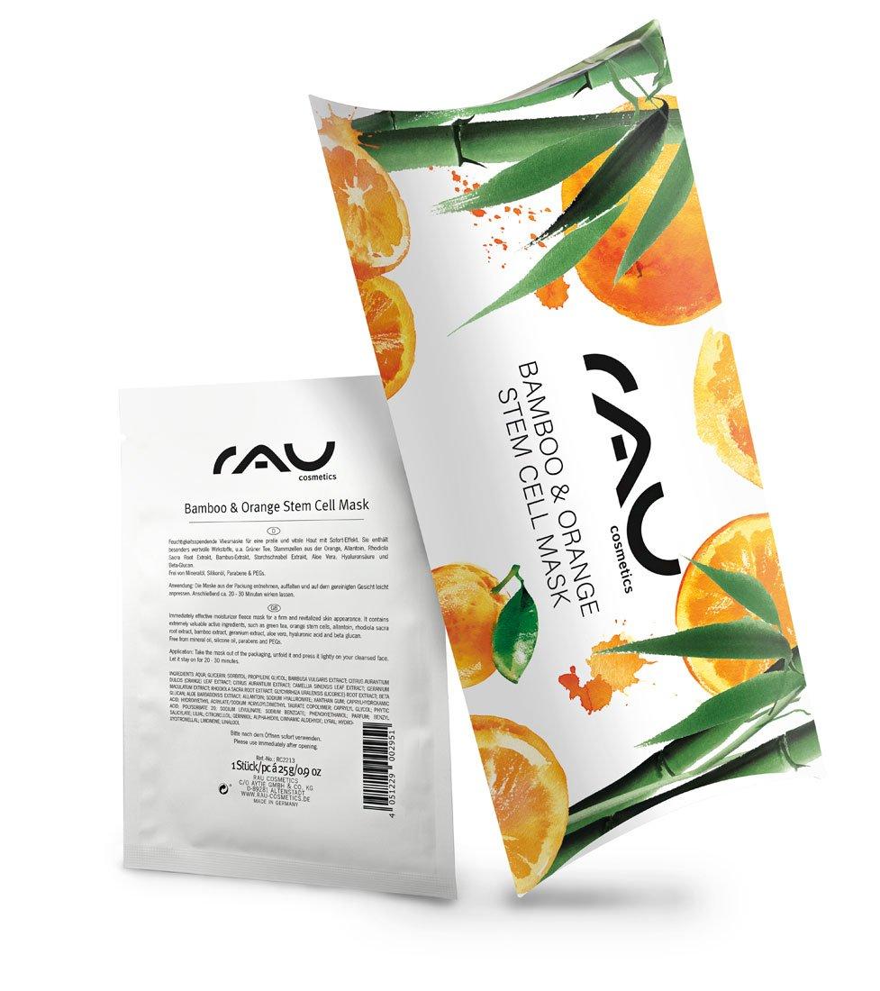 Rau Bamboo & orange Stem Cell Mask–Anti-Ageing Face Sheet Mask–con acido ialuronico, tè verde e aloe vera–idratante cura del viso–per rughe, linee, Dry, mature Skin–vegan–10pezzi RAU Cosmetics