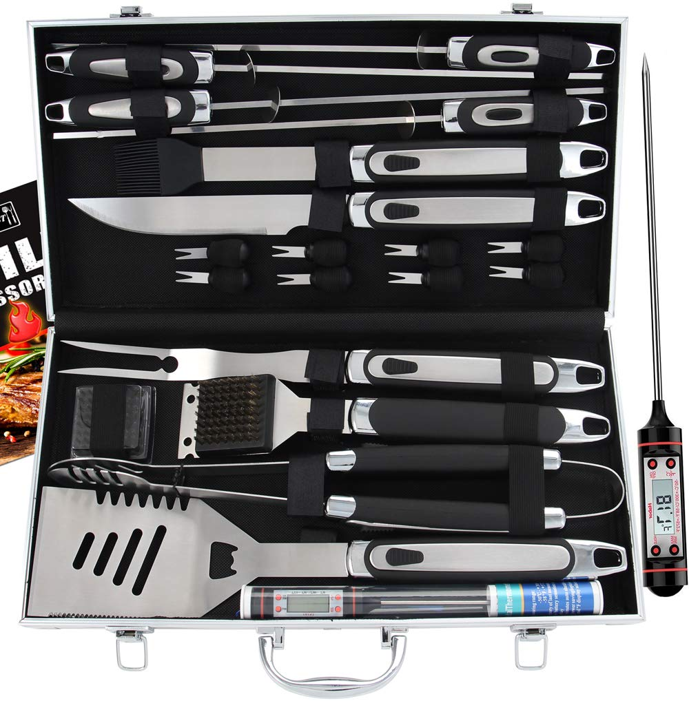 ROMANTICIST 21pc BBQ Grill Accessories Set with Thermometer - Ideal Grill Gift for Men Women on Birthday Wedding - Heavy Duty Stainless Steel Grilling Utensils with Non-Slip Handle in Aluminum Case by ROMANTICIST