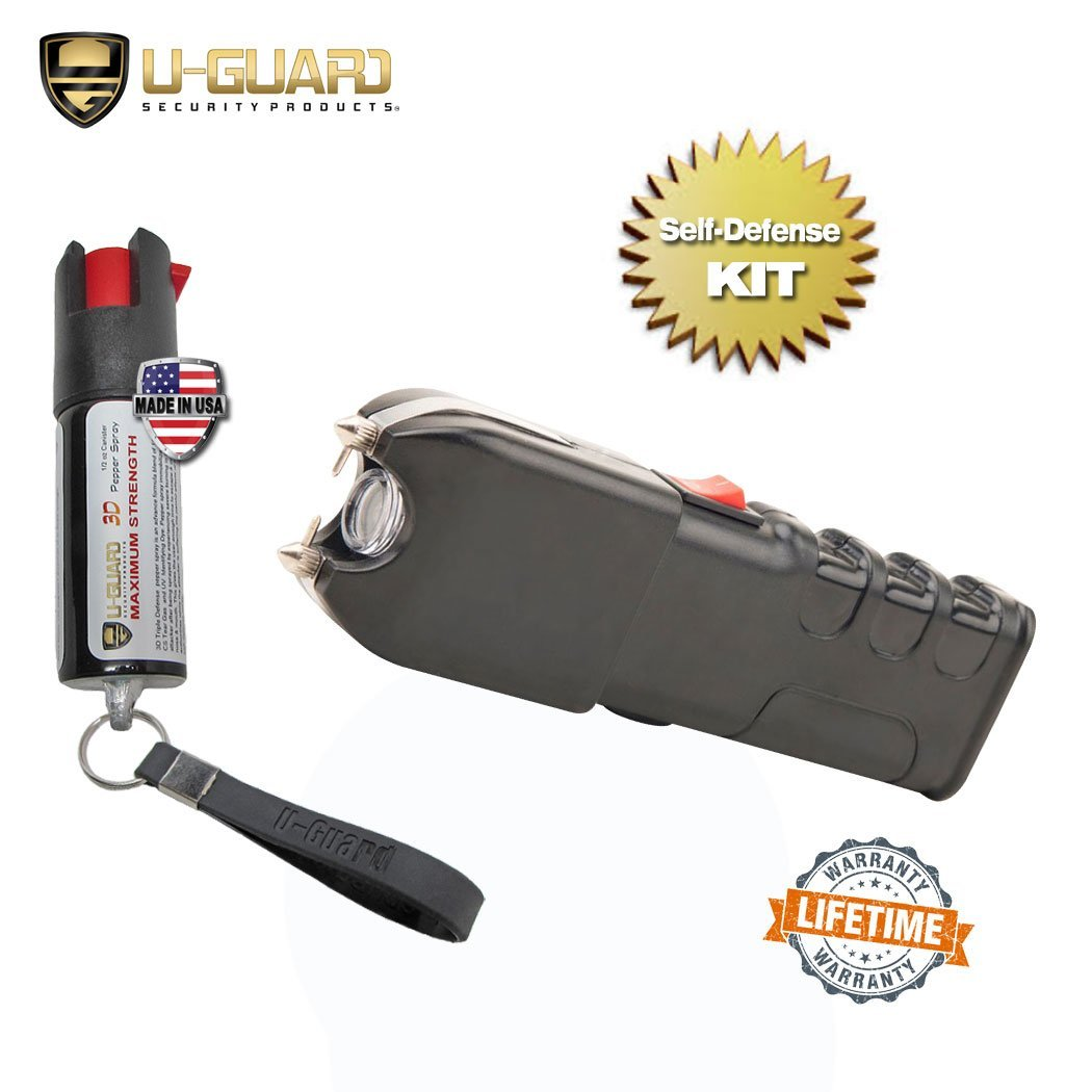 Self-Defense Weapons Kit Electric Stun Gun Pepper Spray Keychain Combo - Includes Heavy Duty Police Rechargeable Tazer With Flashlight & Enforcement Grade Pepper Spray Key Chain For Women Or Men