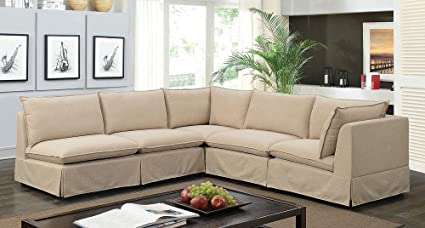 Amazon.com: Joelle 4-Pc Beige Fabric Sectional Sofa by ...
