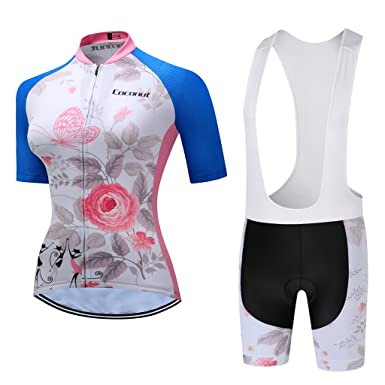 5d32ccfc5 Coconut Women s Short Sleeve Cycling Jersey Set Cycling Shirt Bike Jersey  Bib Shorts with 3D Padded