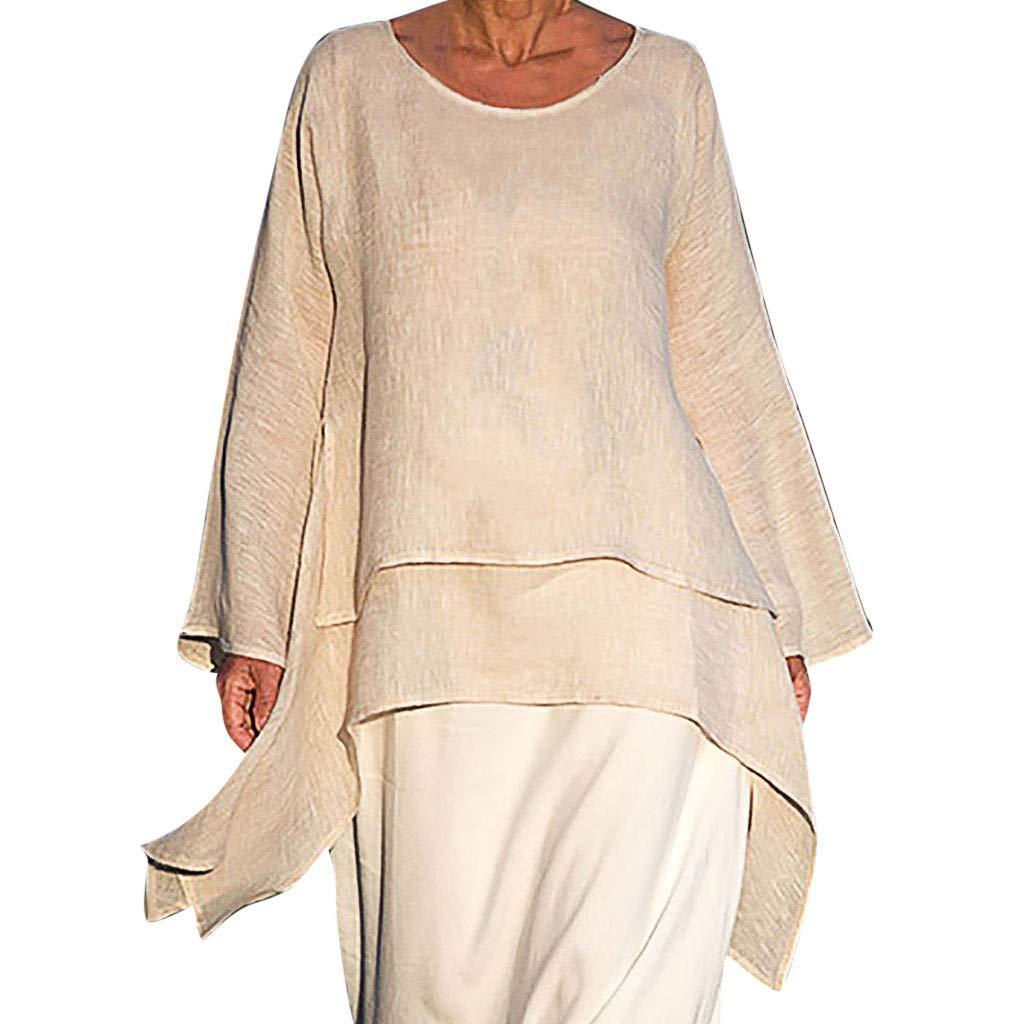 Tunic Dress for Women Plus Size Loose Hem Long Sleeve Blouse Irregular Top Crew Neck Cotton Linen T-Shirt (XL, Beige)