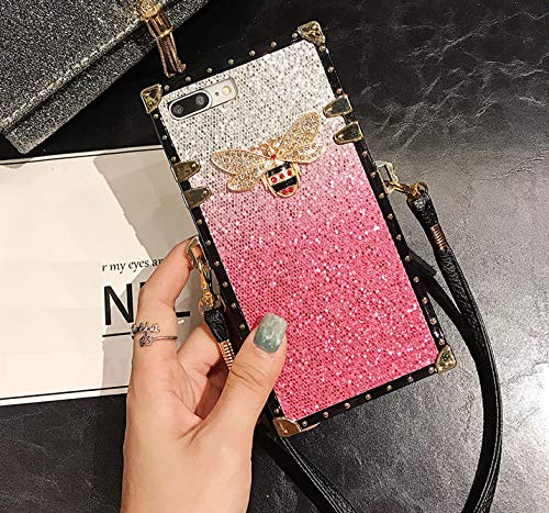 for Samsung Galaxy S10 Plus S10+ Glitter Bee Case,ZBCLV Fashion Design Classic Cute Glitter Bling Skin Bee Gold Square Corner Soft Trunk Cover with Crossbody Strap for Women Girl,Pink