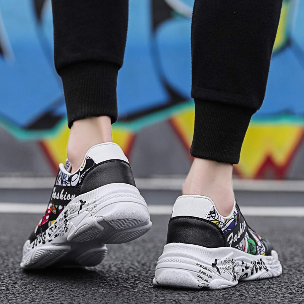 TIFENNY Men Fashion Wild Graffiti Print Casual Shoes Lightweight Comfortable Breathable Low-Top Sneakers Sport Shoes