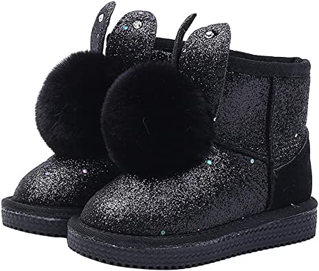 Toddler//Little Kid//Big Kid Girls Cute Fluff Fashion Bunny Boot Princess Winter Snow Boots Outdoor