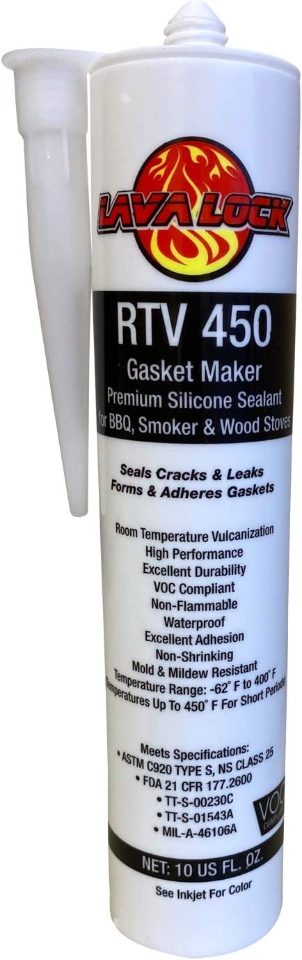 LavaLock RTV High Temp BBQ Smoker Sealer Gasket Adhesive 10 oz Cartridge (450 F - Clear)