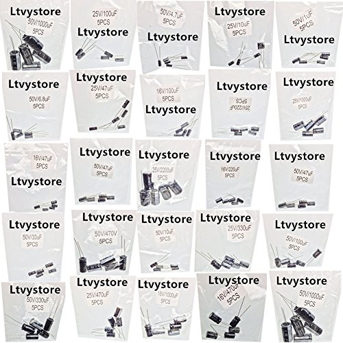Ltvystore 125PCS 25 Values 16V 25V 50V 1uF to 2200uF Electrolytic Capacitors Assorted Assortment Kit Set Black with Lable Marked Resistance