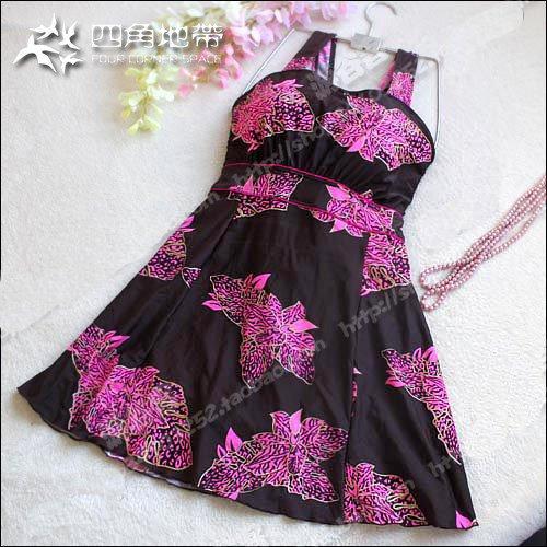 Ultralarge mm plus size swimwear female skirt one piece swimwear maternity vest design big push up swimwear - Style 2 , Freesize