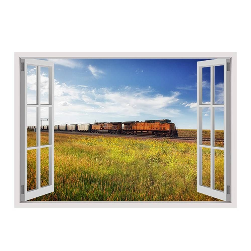 Alonline Art - Scenic Train On Railroad Fake 3D Window FRAMED STRETCHED CANVAS (100% Cotton) Gallery Wrapped - READY TO HANG | 28''x20'' - 71x51cm | Frame Framed Paints For Living Room Giclee