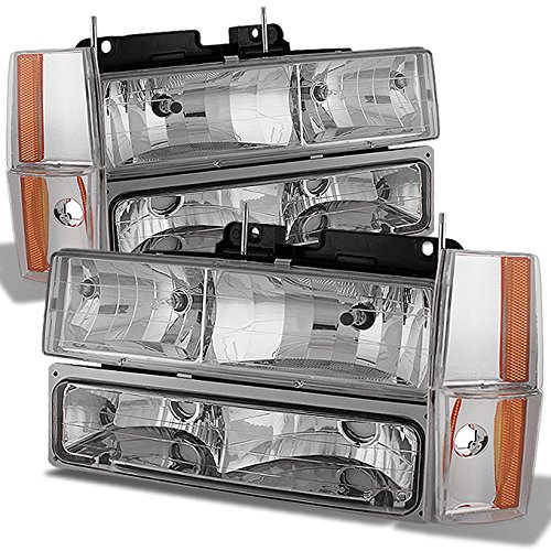 For Chevy C/K Series Silverado Suburban Tahoe Pickup Truck Chrome Clear Headlight + Bumper + Corner Light Set