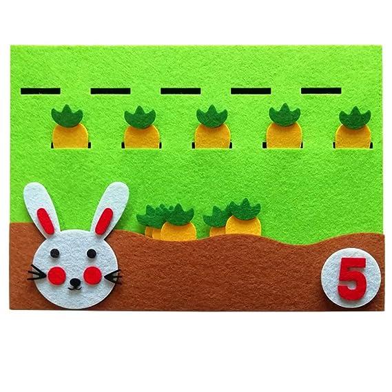 SUPVOX Equipo de ense/ñanza de jard/ín de infantes de fieltro Ni/ños de fieltro educativos diy Juguetes hechos a mano Conejo y zanahoria N/úmeros correspondientes