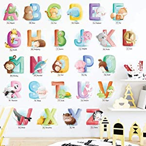 JUMI.O Alphabet Wall Decals: Watercolor ABC Animal Wall Stickers for Nursery, Kids / Toddler / Boy / Girl / Unisex Room, Playroom, Daycare, Homeschool