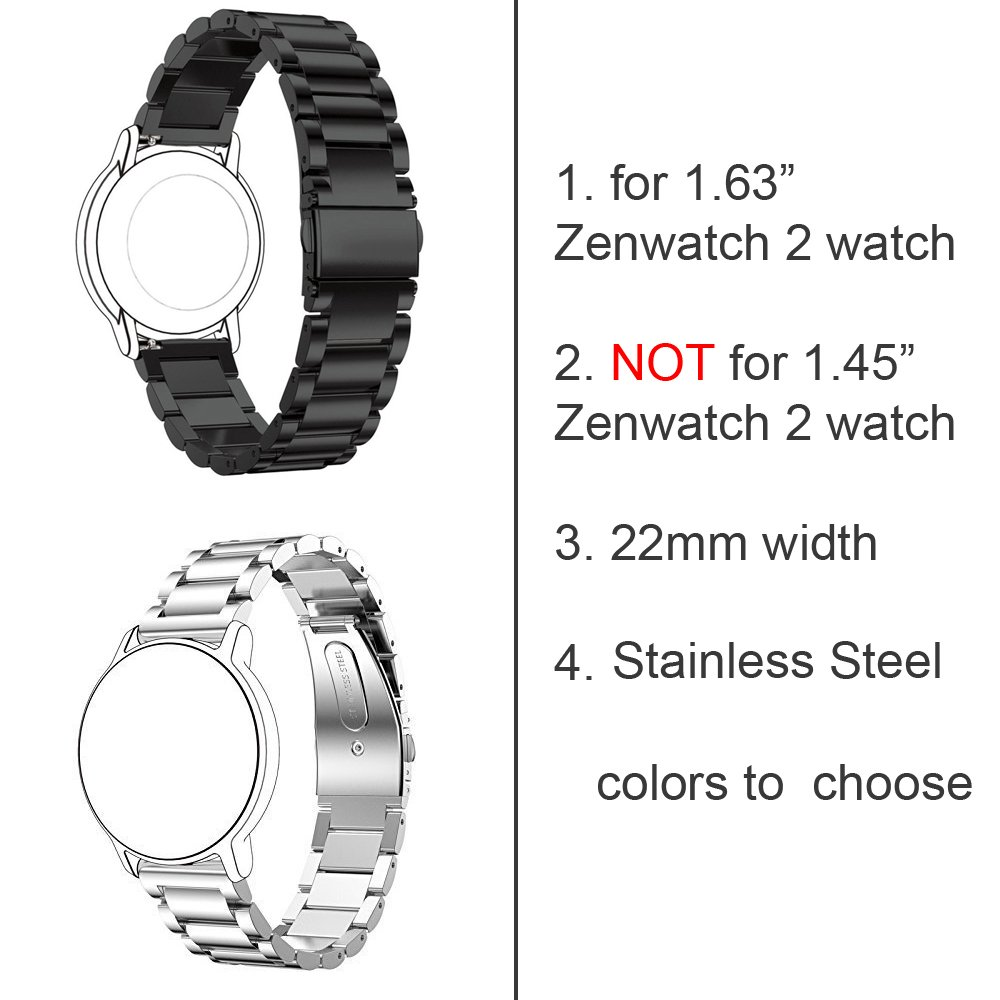Replacement 3 Beads Stainless Steel Bands for ASUS ZenWatch 2 ...