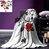smallbeefly Gothic Lightweight Blanket Ornate Swirling Branches with Roses Garden Flower Grunge Style European Digital Printing Blanket Vermilion Black White