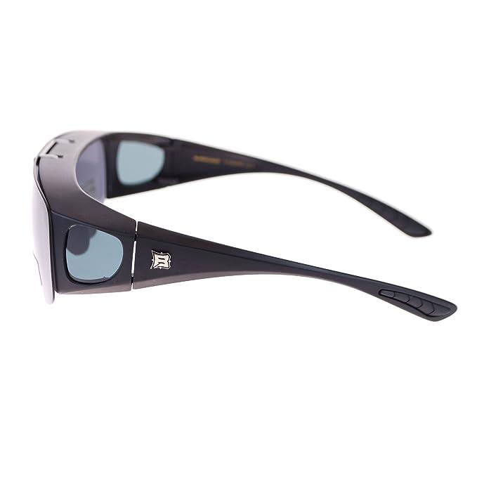 5644fb55183 Amazon.com  Barricade Large Mens Polarized Flip Up Fitover Sunglasses All  Black  Clothing