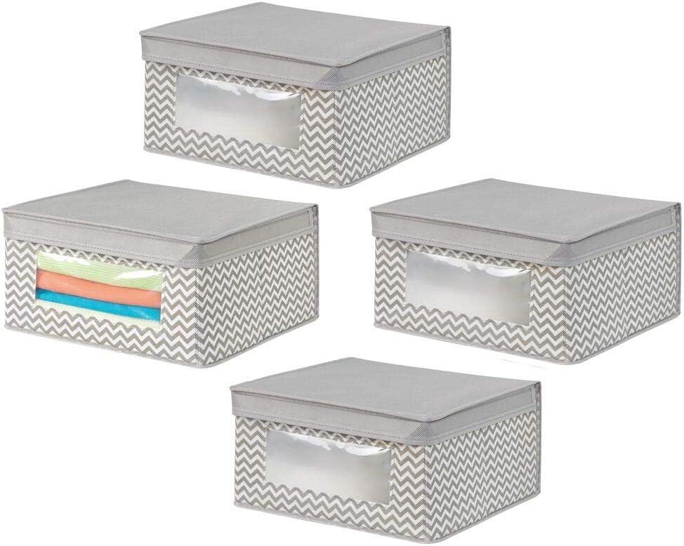 Boite de Rangement avec Couvercle pour Chambre denfant Caisse de Rangement empilable en Fibre synth/étique Respirante Lot de 4 Jaune Clair//Blanc mDesign Boite en Tissu au Motif /à Pois