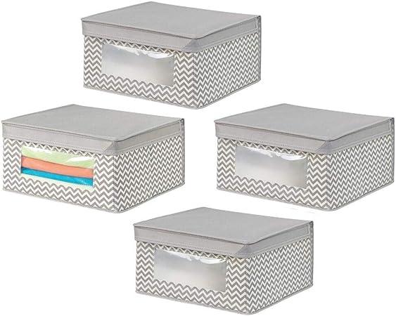 mDesign Juego de 4 cajas de tela – Cajas con tapa medianas – Ideal ...