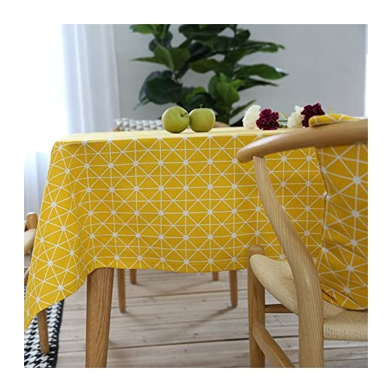 """ColorBird Geometric Series Tablecloth Diamond Pattern Cotton Linen Dust-Proof Table Cover for Kitchen Dinning Tabletop Linen Decor (Rectangle/Oblong, 55 x 102Inch, Yellow) - Delicate Printing: Featuring classic geometric diamond pattern on high quality cotton linen, this ColorBird elegant modern tablecloth will make your meal time more luxurious Super Soft Fabric: 100% cotton linen, eco-friendly/stain resistant; Measures 55"""" Width x 102"""" Length (140 x 260 cm), size deviation is between 1 to 2 inch Easy to Care: Machine washable, hand wash best; Hang to dry; Low iron; Don't bleach - tablecloths, kitchen-dining-room-table-linens, kitchen-dining-room - 61gBIcBv7%2BL. SS570  -"""