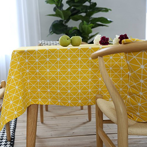 ColorBird Geometric Series Tablecloth Diamond Pattern Cotton Linen Dust-Proof Table Cover for Kitchen Dinning Tabletop Linen Decor (Rectangle/Oblong, 55 x 70 Inch, Yellow)