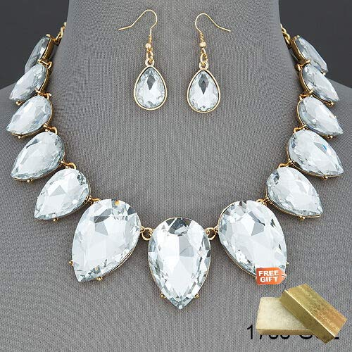 Gold Chain Clear Stone Elegant Gorgeous Statement Necklace With Earrings Set For Women Gold Cotton Filled Gift Box for Free