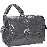 Kalencom Laminated Buckle Bag, Black Crystals