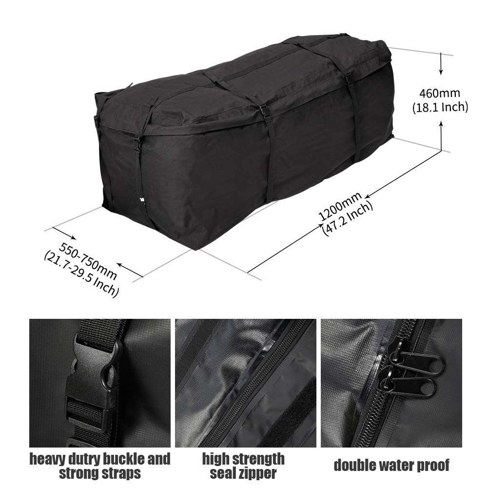 Expandable Hitch Bag W Zhongxin 10.7 cu. ft Extends to 15 cu. ft Size: 47.2 L x 18 H x Waterproof Luggage Storage Bag for Car Truck SUV Van RV Jeep Pickup W Size: 47.2 L x 18 H x 21.7-29.5 Hitch Rack Cargo Carrier Bag 21.7-29.5