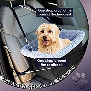 Devoted Doggy Metal Frame Construction Pet Booster Seat with Zipper Storage Pocket, Black/Grey
