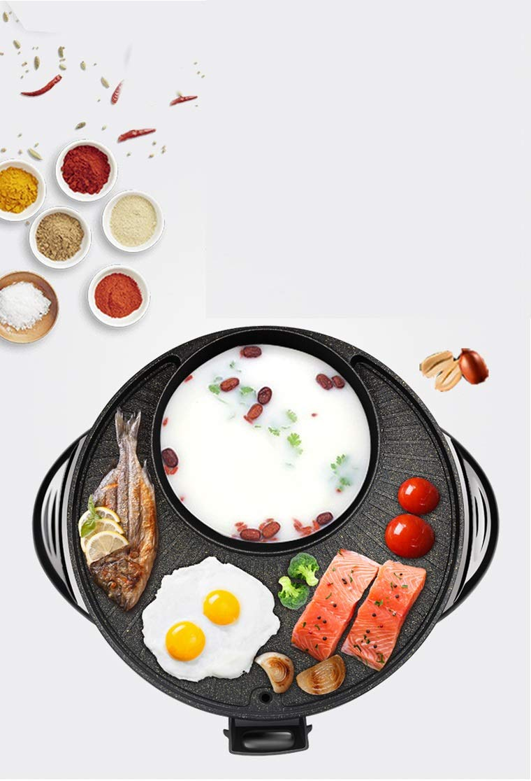 Maifan Stone Korean Hotpot with Grill by BXB | Multi-Function Non-Stick Bottom Electric Cooker | Shabu Shabu and Grill Multi-Cooker