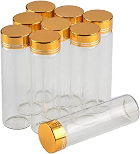 12units Empty Jars Glass Bottle with Aluminium Gold Color Screw Cap 50ml Sealed Liquid Food Gift Container (12, 50ML-Golden Lid)