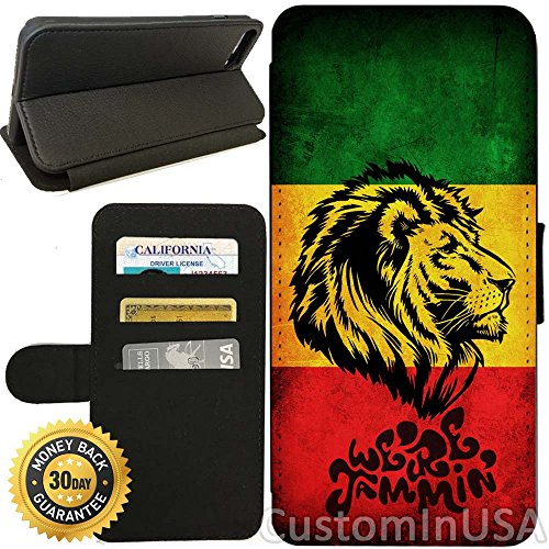 Flip Wallet Case for iPhone 7 Plus (Cool Singer Rasta Lion) with Adjustable Stand and 3 Card Holders | Shock Protection | Lightweight | by (828 Light)