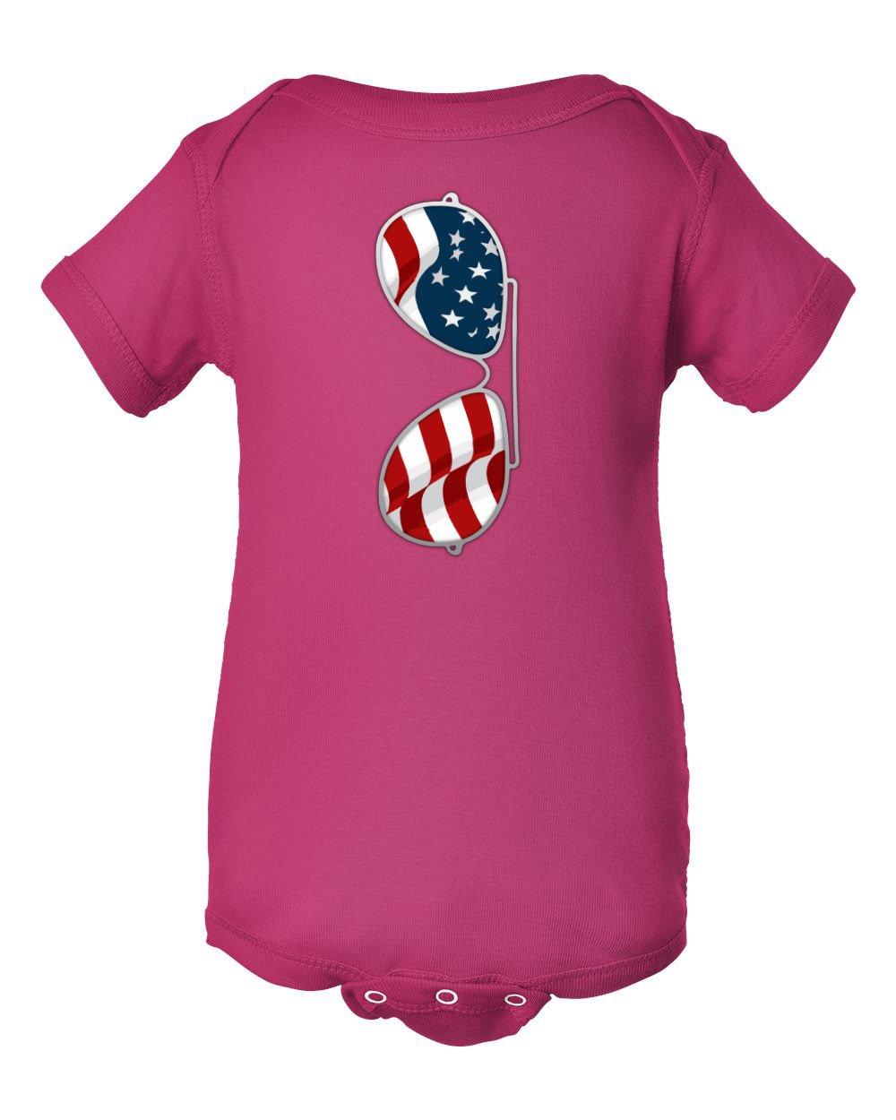 American Flag Sunglasses Aviator Little Infant Baby Short Sleeve Bodysuit (Pink, NB)