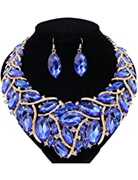 African Beads Jewelry Sets Women Bridal Crystal Statement...