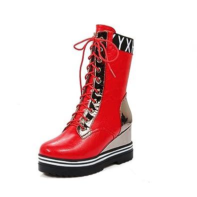 AllhqFashion Damen Hoher Absatz Weiches Material Niedrig-Spitze Gemischte Farbe Stiefel, Weinrot, 34