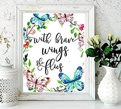 Amazoncom Nursery Decor With Brave Wings She Flies Butterfly Wall