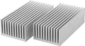 JIUWU Heatsink Cooling Module Aluminum Heat Radiator Cooling Fin for High Power LED Amplifier Transistor Silver 2 Pack