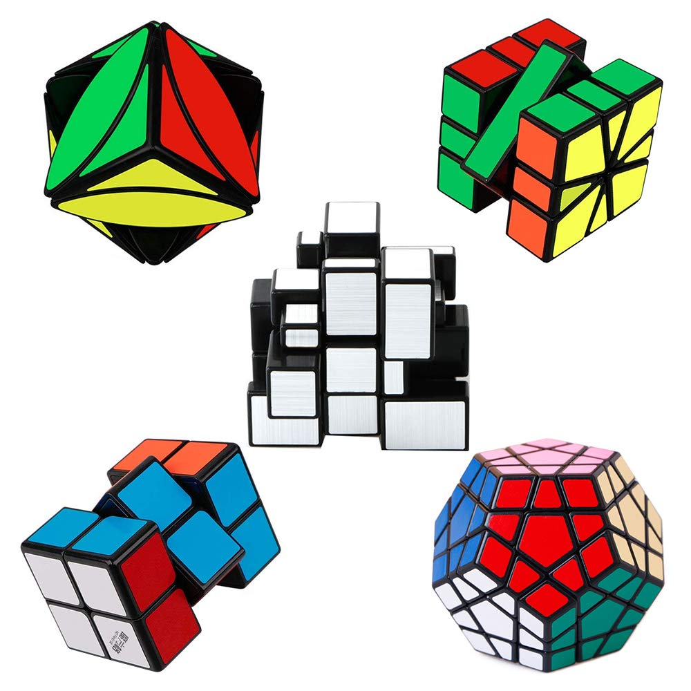 Tresbro Magic Cube , Megaminx Cube 2x2x3 Speed Cube Smooth Mirror Cube Ivy Cube SQ-1 Cube Creative Educational Toys for Kids Boys Girls[ IQ Tester] [5 Pack]