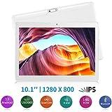 Yuntab Tablette 10.1 pouces 1,3GHz Quad core Tablette 3G Android 5.1 Quad Core IPS ( 16Go Rom, GPS, WiFi, Tablette pour Internet et Appel ) 5000mAh Batterie (Blanche)