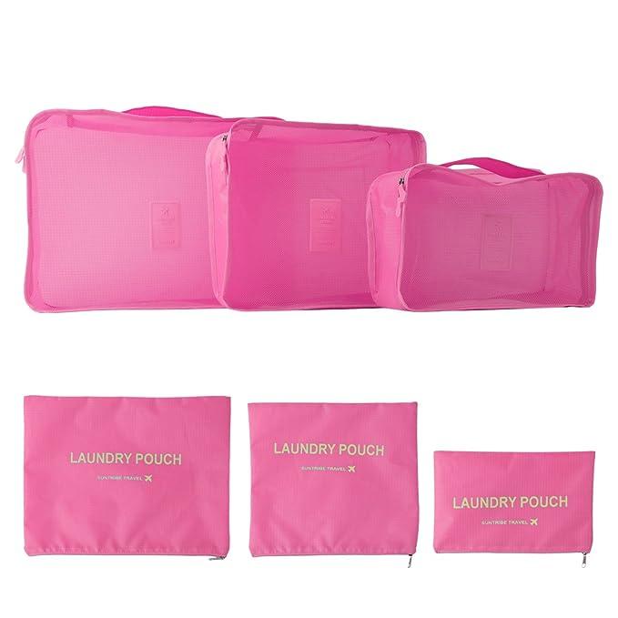 Bolsas Organizador De Maletas Viaje 6PCS Organizador de Equipaje Mochila Para Guardar Ropa Zapatos Rosa Multi: Amazon.es: Ropa y accesorios