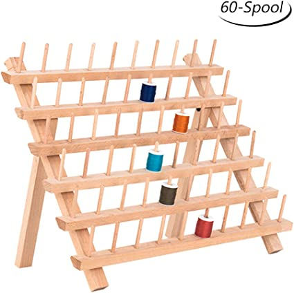 New brothread 2X60 Spools Wooden Thread Rack//Thread Holder Organizer with Hanging Hooks for Embroidery Quilting and Sewing Threads