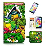 ninja turtle cases for galaxy s5 - ( For Samsung Galaxy S5 ) Flip Wallet Case Cover & Screen Protector Bundle - A20467 Ninja Turtle TMNT