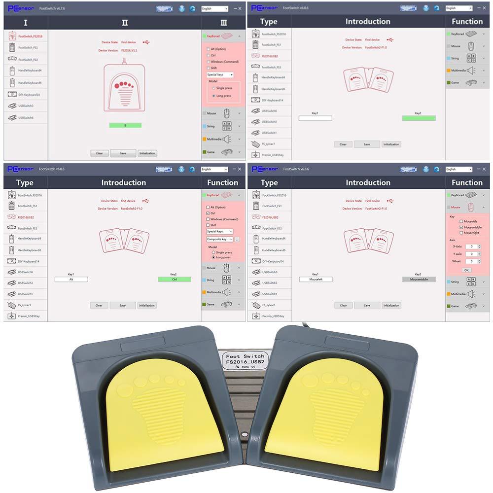 Docooler pcsensor USB 2/Foot Switch Teclado Multimedia Teclado Gamepad rat/ón Cuerdas acci/ón Pedal