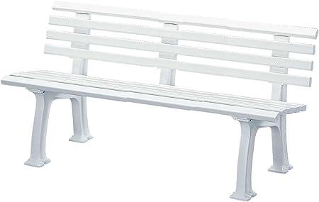 Gartenbank Bank 3 Sitzer aus Kunststoff 150 cm weiß Parkbank