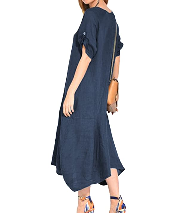 0d6c376446 Jacansi Women Summer V Neck Short Sleeve Evening Party Kaftan Cotton Linen  Dress UK 8-20  Amazon.co.uk  Clothing